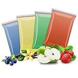 4x 200g Aromazucker | Vanille – Apfel - Erdbeere - Blaubeere | 4 Sorten Zucker mit Geschmack für Bunte Zuckerwatte / Zuckerwattemaschine | 800 Gramm gesamt