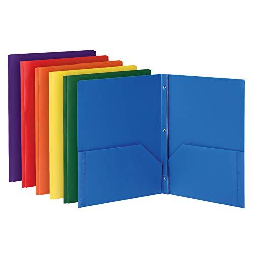 Oxford 2 Pocket Folders with Fasteners, Sturdy Plastic Folders, Letter Size, Asstd. Colors (Blue, Green, Yellow, Orange, Red, Purple), 6 Pack (13189)
