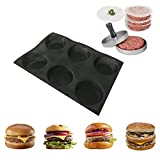 Non-stick 6 Cavities Round Hamburger Buns Silicone Perforated Bread Forms with Metal Meat Press and 40 Free Patty Paper