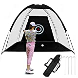 LEDU Golf Hitting Net Outdoor Indoor Foldable Golf Practice Cage Driving Hitting Net Training Aid 2M Black