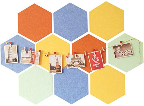 Uoisaiko Self Adhesive Hexagon Filz Anschlagtafel Fliesen für Office Memo Board für Home Hexagon Wandaufkleber Peel und Stick Pin Message Board Set von 10