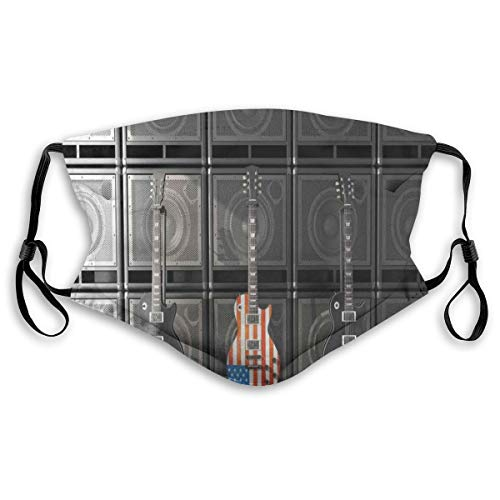 Multifunctional Summer Scarf, Bandana, Mouth Cover para mujer, Black and Us Bass Guitar Electronic Rock Music Teme Digital Graphic Work,Elastic, Dust- and Smog-proof Washable, Breathable