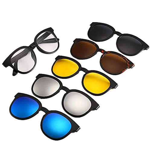 Gafas de Sol Retro de Estilo Retro de la Moda con 5pcs Lentes Intercambiables para Hombres Mujeres irrompibles TR90 Marco Clip-on UV Proteccion