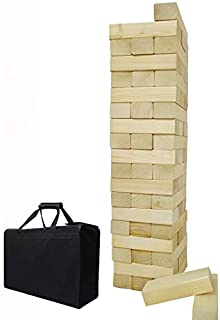 Giant Wooden Toppling Tumbling Timbers Tower with Storage Bag Jumbo Huge Blocks Stacking Lawn Yard Games for Family Backya...