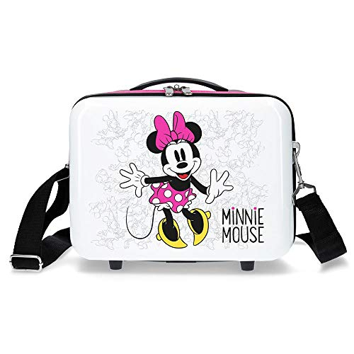 Disney Enjoy The Day Neceser de viaje, 29 cm, 9.14 litros, Blanco/Rosa