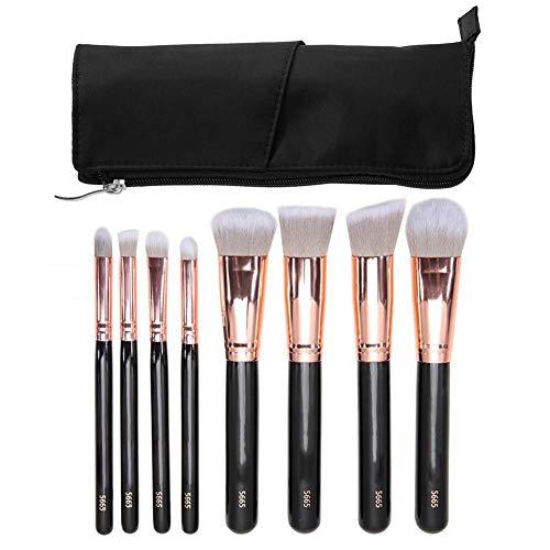 Cosmetica-kwast, draagbare make-upkwast, foundation kit, rouge, oogschaduw, cosmetica, gereedschap met doos (8 stuks) goud