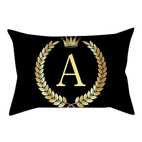 VJGOAL Personalidad única Carta de Oro de impresión Negro Funda de Almohada cómodo Sofá rectángulo Funda de Cojín Decoración para El Hogar(30_x_50_cm,Multicolor1)