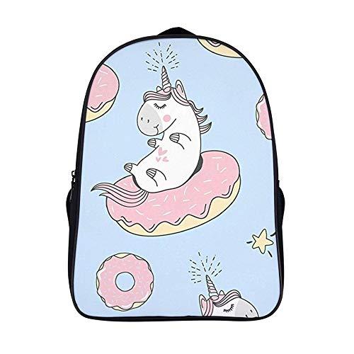XIAHAILE Kompakte Rucksack Büchertasche für Männer und Frauen, leichter Rucksack für Schul und Urlaubsreisen,Cartoon Einhorn Donut Schlauchboot