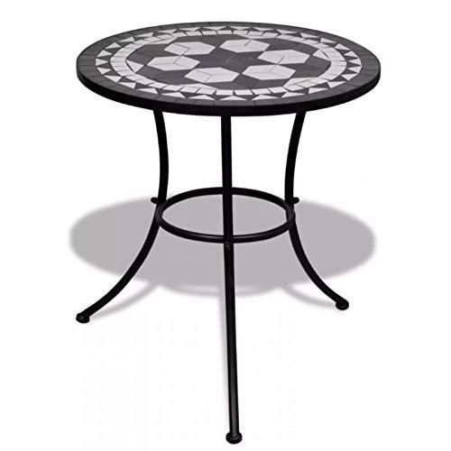 Hanper Mosaik Tisch,Mosaik Gartentisch Balkontisch Mosaiktisch Beistelltisch Mosaik Rund Gartentisch 60 x 70 cm Schwarz-weiß