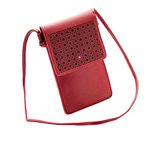 Damen Handyhülle Wasserdich Handy Umhängetasche, 2 in 1 Handtasche Schutzhülle Handy Tasche PU Leder Touchscreen Funktion Mobile Phone Bag Protective Case Handy Tasche (Rot)
