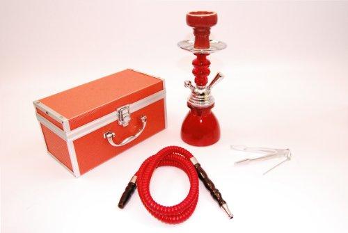 Wasserpfeife Shisha Nargile 1 Schlauch 30cm mit Koffer in Rot - SH065