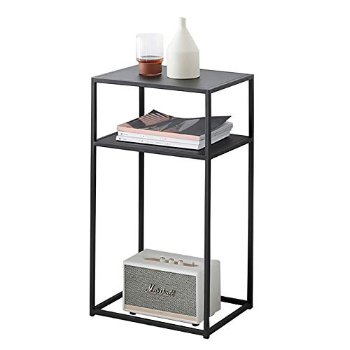 Table basse en fer, salon de luxe légère avec pieds hauts, table d'appoint de canapé simple, table de chevet carrée, double petite table (Color : Black)