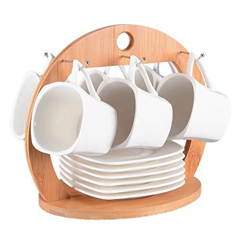 Tassen Set 13-teilig für Tee oder Kaffee. Kompaktes Set bestehend aus 6 Tassen (150ml) mit Untertassen und praktischem Holzständer.