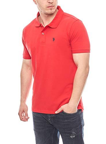 U.S. POLO ASSN. Basic Poloshirt Polohemd Baumwolle Herren Kurzarm (Rot, L)