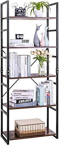 LLIVEKIT Bücherregal Vintage 5-Tier Bücherregal Holz Display Regal Aufbewahrungsorganisator für Home Office (5 Tier)