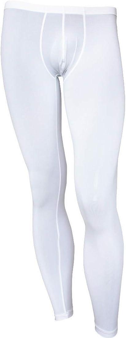 Aislor Men's Smooth See Through Low Rise Bulge Pouch Long Trousers Leggings Pants Underwear