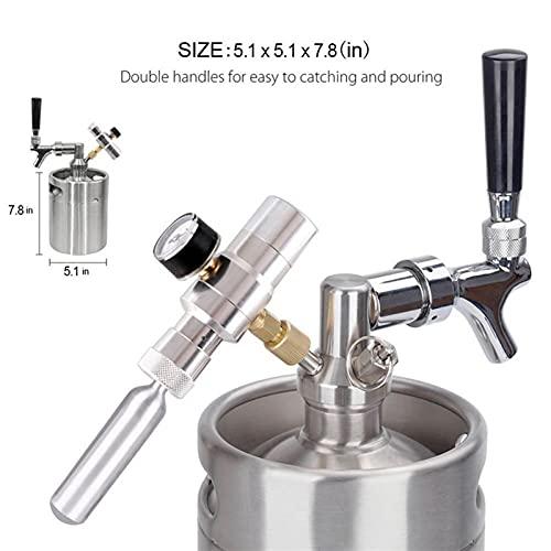 LuiYninhuoJin Cerveza Mini Keg 169 Oz, Mini Keg Growler con Grifo del Grifo, Grifo presurizado 304 Cerveza presurizada de Acero Inoxidable con regulador de presión de CO2 (Size : 5L)
