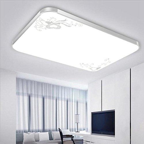 BiuTeFang LED plafonnier en acrylique en aluminium avec lampe de salon à LED simple rectangulaire avec cadre en argent blanc 65 * 65cm 48W