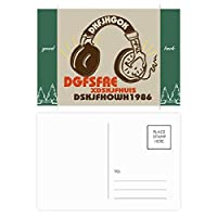 茶色のヘッドセットのロック・ミュージック・クレイジー グッドラック・ポストカードセットのカードを郵送側20個