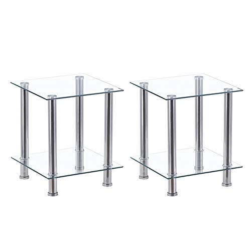 GOLDFAN Nest of 2 Tables 2-Tier Sofa End Side Tables with Clear Tempered Glass Shelves and Chrome Frame for Living Room Office