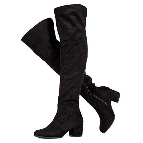 RF ROOM OF FASHION Paris-25 Women's Block Heel Pullon Over The Knee Boots - Medium Calf Black SU (9)