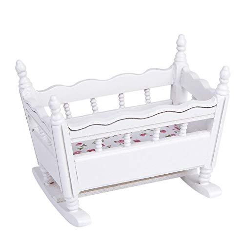 FeelMeet Blanco De Madera 1:12 Miniatura Baby Cradle Doll Juguete Mueble Cuna Cuna Cuna Casa Duracion Decoración