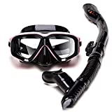 Gafas y Tubo de Snorkel Set para Adulto, Panorámico de 180° Gafas y Máscaras de Buceo de Cristal Templado y Dry Top Snorkel, Equipo de Buceo Kit de Snorkel Profesional para Mujeres Y Hombres