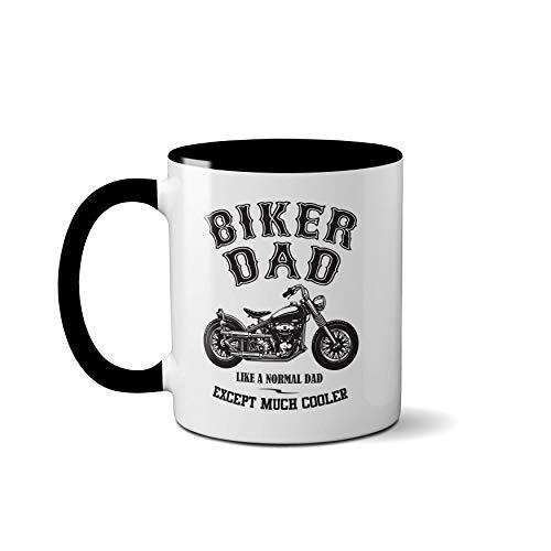 """Tasse für Biker mit Aufschrift """"Like A Normal Dad Except Much Cooler"""", Vatertagsgeschenk, Teetasse, Kaffeebecher, keramik, Schwarzer Griff Prime"""
