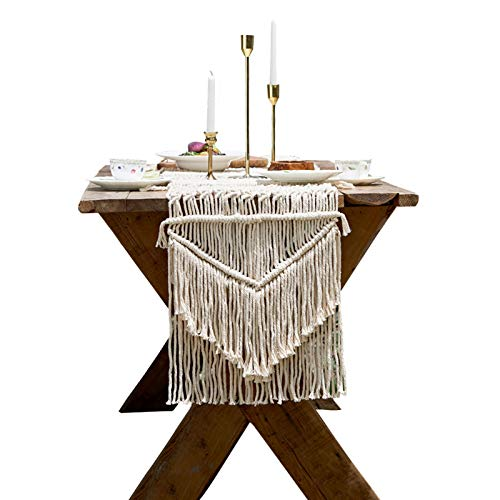 NYKK Kitchen Table Runner Cotton Crochet Table Runner with Tassels for Home Dining Farmhouse Table Linen Table Décor,Rustic Boho Wedding Bridal Shower Party Decorations Table Decor/Dresser Runners