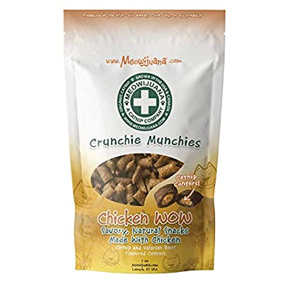 Meowijuana | Crunchie Munchie | Chicken Flavor | Organic Catnip Center Grown in The USA | Promotes Cat Health | High Potency Cat Treats | Feline and Cat Lovers Approved | 3 Ounce Bag