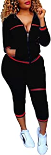 Women's 2 Piece Set Bodycon Zipper Jacket Suit Carpri Pants Tracksuits
