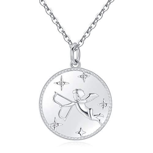 Collar Ángel Cupido Plata de Ley 925 con Circonita Cúbica Estrellas y Corazones San Valentín Regalo para Mujeres Niñas