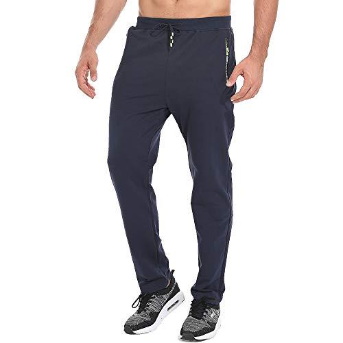Tansozer Pantaloni Sportivi Uomo Cotone con Elastico Coulisse in Vita Zip Tasche Blu XL