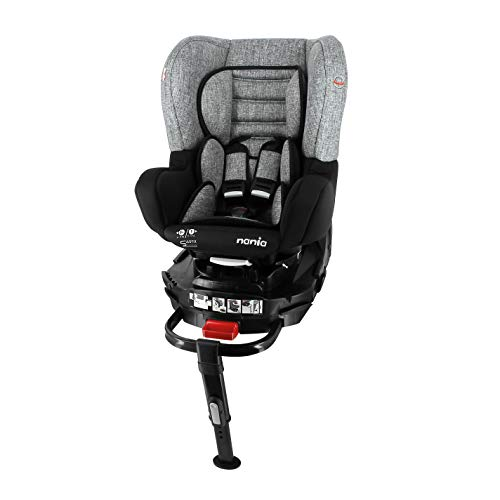 nania Siège Auto pour bébé Isofix et Jambe de Force pivotante REVO Groupe 0+/1 (0-18kg) et avec Protection latérale Silver