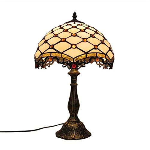 LLLKKK Lámpara de mesa clásica clásica de 12 pulgadas, estilo Tiffany con interruptor de botón