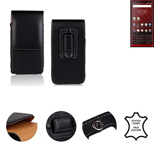 K-S-Trade® Holster Gürtel Tasche Für BlackBerry KEY2 Red Edition Handy Hülle Leder Schwarz, 1x