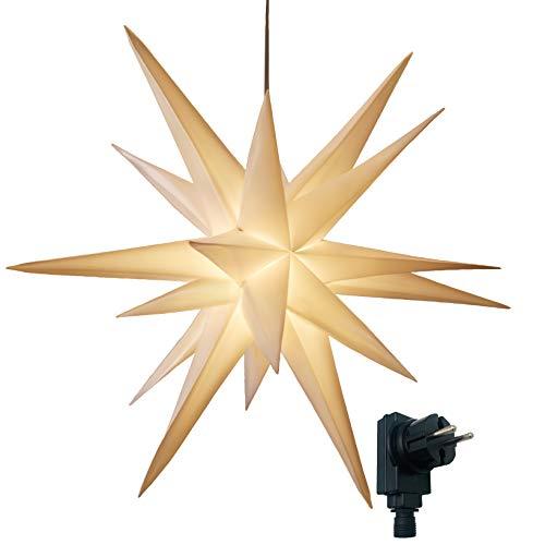 3D Leuchtstern/mit warm-weißer LED Beleuchtung/für Innen und Außen geeignet/hängend / 7,5 m Zuleitung/ca. 57x44x48 cm (Weiß)