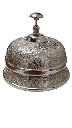 """PARIJAT HANDICRAFT Hand Held Service Call Bell 3.5"""" L Aluminium Call Bell Ideal Gift for Home Office, School, Teacher, Nautical, Aluminium Desk Bell"""