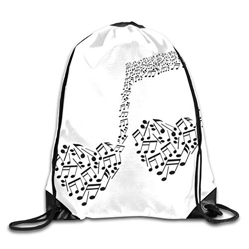 Drawstring Bag Sport Gym Sackpack-Big Abstract Musical Note With Smaller Ones And Heart Shape Details Love Of Art,Drawstring backpack Mouth Gym Sack Rucksack Shoulder Bags For Men & Women