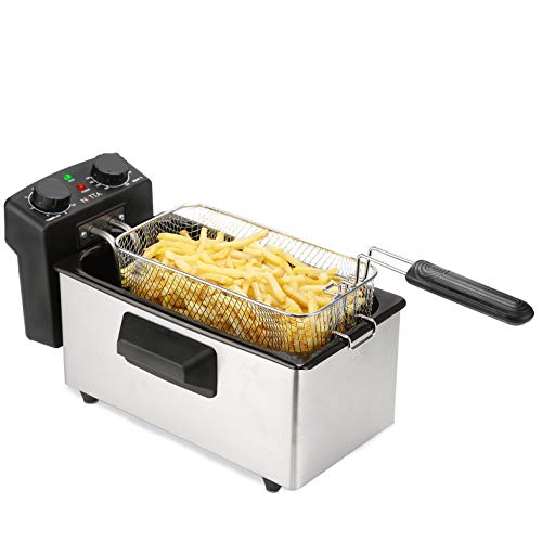 NETTA 3L Deep Fat Fryer with 30 Minutes Timer, Deep Fryer with A Visible Window, Temperature Control, Non-Slip Feet, Easy Clean, Powerful 2000 Watts, Stainless Steel and Black