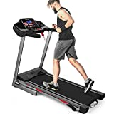 Merax Heavy Duty Treadmill with Wide Shock-Absorbing Running Board, Large LCD Panel and Shortcut Buttons (Black-2019)