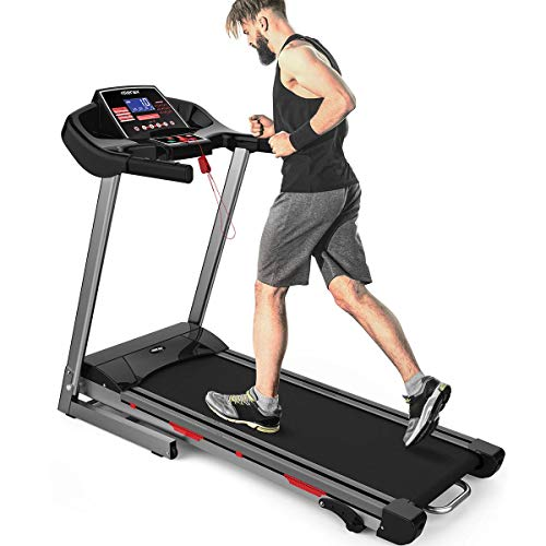 Merax Heavy Duty Treadmill with Wide Shock-Absorbing Running Board, Large LCD Panel and Shortcut Buttons (Black) Treadmills