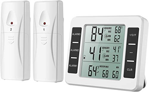 (Upgraded) AMIR Refrigerator Thermometer, Wireless Indoor Outdoor Freezer Thermometer, Sensor Temperature Monitor with Audible Alarm Temperature Gauge for Freezer Kitchen Home (Battery not Included)