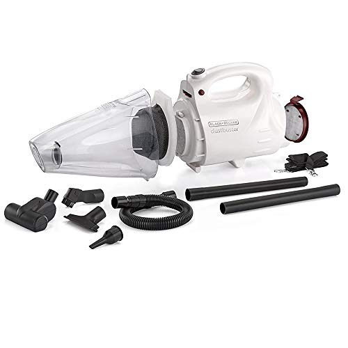 BLACK+DECKER VH802 800-Watt, 900ml dustbowl,150 Air Watts High Suction Bagless Dustbuster Vacuum Cleaner and Blower with 8 Attachments and Shoulder Strap (White)