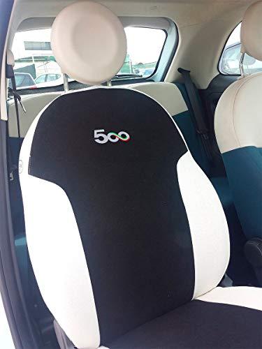 autoSHOP Fodera Set COPRISEDILE su' Misura Completa per 500 dal 2007 Posteriore Intero O Diviso (SPECIFICARE Via E-Mail) (Nero/Bianco)