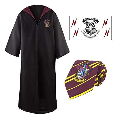 Harry Potter Pack Cosplay Gryffondor Robe de Sorcier + Cravate + 5 Tatouages Taille L