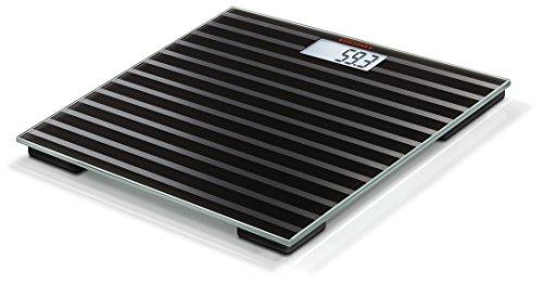 Soehnle Personenwaage Maya Digital Black Edition Stripes in eleganter Optik, kompakte Personen Digitalwaage, energiesparende Waage mit LCD-Anzeige