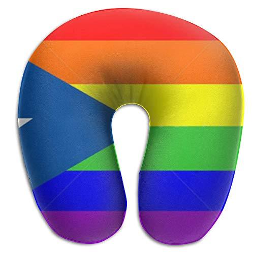 Cuscino Viaggio,Cuscino A Forma Di U Gay Pride Bandiera Arcobaleno Puerto Rico, Cuscino A Forma Di U Memory Foam Per Decorazione Divano Letto