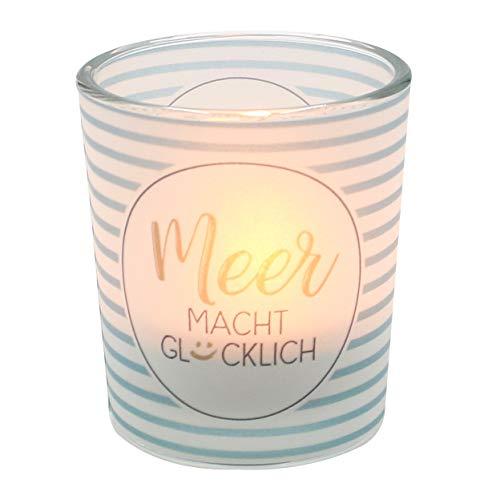 Dekohelden24 Windlichtglas transparenten Banderole, inkl. 1 Teelicht, H/Ø: 6,5 x 6 cm, Motiv: Meer Macht Glücklich, Glas