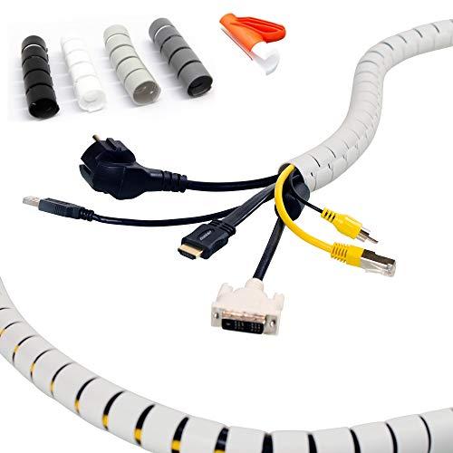 KabelOrdnung - Flexibler Kabelschlauch mit Einziehwerkzeug, Ø 15mm (2-5 Kabel), 2,5m, Weiss - Kabelkanal, kürzbar, Kabeltunnel als sicherer Kabelschutz